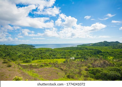 Ocean, lagoon and green hills view from terrace in Aimeliik state, the famous prehistoric terraces, the largest in Palau