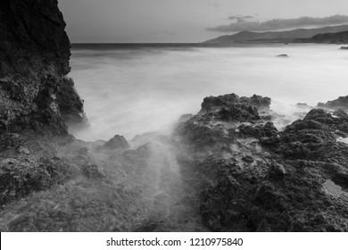 Ocean landscape black and white