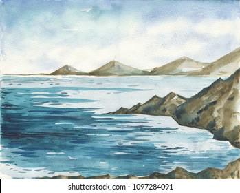 Ocean landscape, Sea side, Beach. Beautiful watercolor hand painting illustration