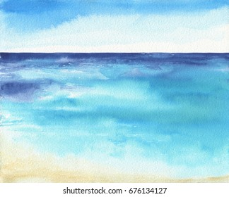 Ocean landscape, Sea side, Beach. Beautiful watercolor hand painting illustration.