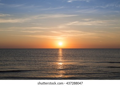 ocean landscape with sunset for backgrounds