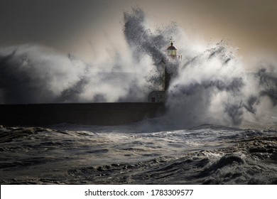 Ocean and light house having a fight