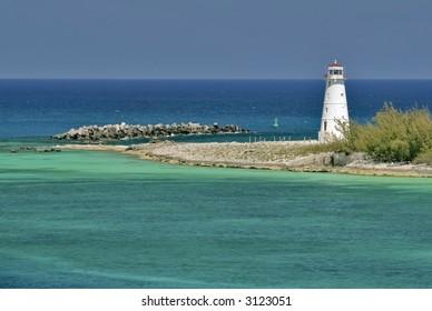 Ocean and lighthouse, Nassau, Bahamas
