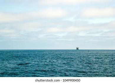 Ocean oil rig near Channel Islands off Ventura coast, Southern California