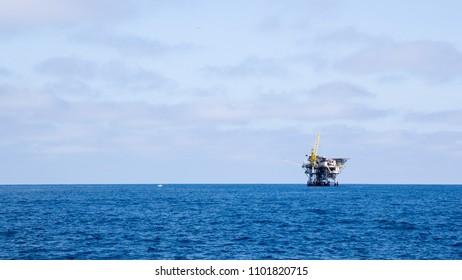 Ocean oil rig near Channel Islands off Ventura coast, Southern California; Copy space