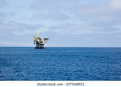 Ocean oil rig in waters off the Ventura coast, Southern California