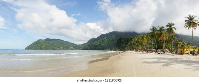Ocean and Palm Trees at Maracas Beach in Trinidad and Tobago, Caribbean.