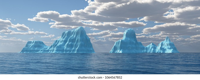 Ocean panorama with icebergs Computer generated 3D illustration