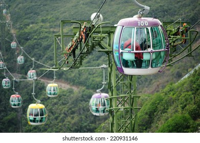OCEAN PARK, HONGKONG - JULY 2, 2014: Cable car of Ocean Park, Hongkong. Cable car carries tourists up to the entertainment park. Many Tourist especially from China visit Ocean Park Hong Kong