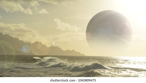 ocean planet with moon
