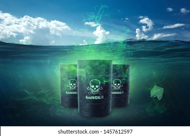 Ocean pollution by toxic waste. Biological waste. The concept of chemical waste, pollution of nature, toxins.