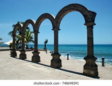 Ocean promenade in Puerto Vallarta in Mexico