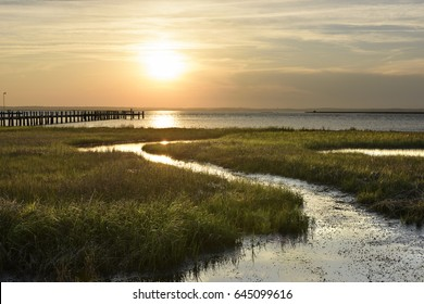 Ocean salt marsh with sea grass and dock at sunset