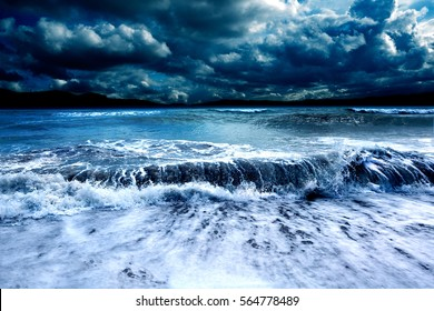 Ocean and sea storm.Cloudy sky and waves
