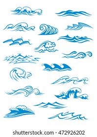 Ocean or sea waves, surf and splashes set curling and breaking in a pretty turquoise blue for marine and nautical themed concepts