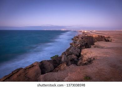 Ocean shore in Dakhla. Dakhla, Western Sahara, Morocco.