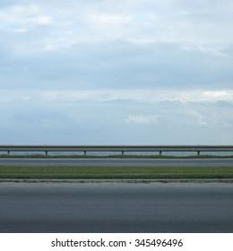 Ocean side highway and gard rail