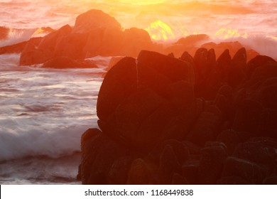 Ocean sunset background with copy space
