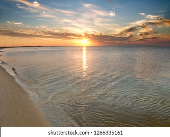 Ocean sunset from Horn Island of the Gulf Islands National Seashore in Mississippi