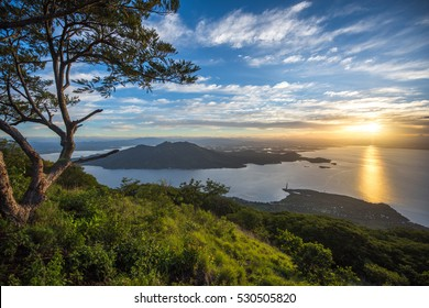 Ocean sunset with islands from a mountain top