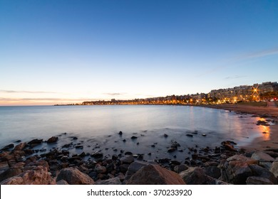 Ocean Sunset over the beach of Montevideo, Uruguay.  A stunning capital city in South America
