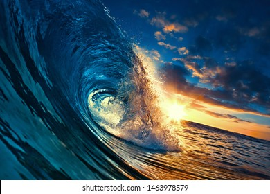 Ocean Sunset Wave, clear water in Tropical sea colorful background