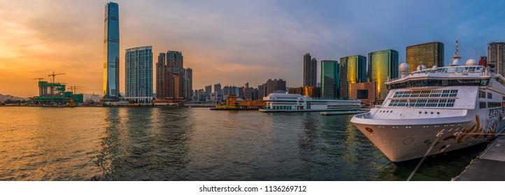 Ocean Terminal, Victoria Harbour, Hong Kong   - July 11, 2018 : Ocean Terminal  is a cruise terminal and shopping centre located on Canton Road in Tsim Sha Tsui, Kowloon, Hong Kong.