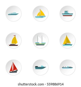 Ocean transport icons set. Flat illustration of 9 ocean transport  icons for web