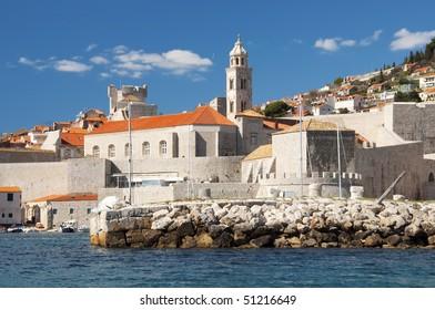 Ocean view of Dubrovnik coastline.