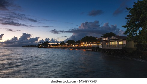 Ocean view of Front street Lahaina Maui at Blue hour sunset
