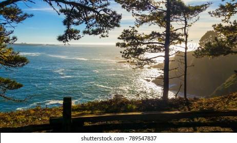 Ocean View in Mendocino Headlands. Northern California Coast Line