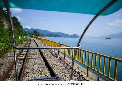 Ocean view next to Yeosu rail bike in South Korea.