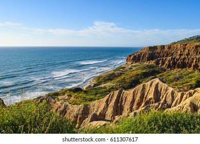 Ocean View and Sandstone Cliffs at Torrey Pines Reserve in San Diego, California