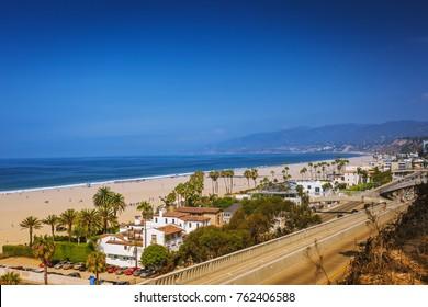 Ocean view in Santa Monica, beach, pacific ocean and highway, daylight