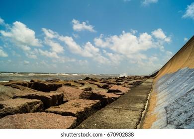 Ocean view at the sea wall in Galveston, Texas, USA