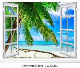Ocean view from the window on the island of sunny summer day Caribbean Dominican Republic