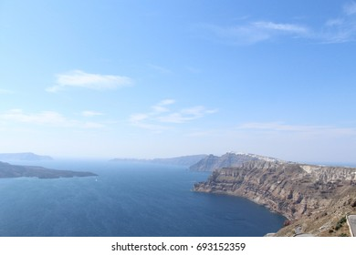 Ocean Views from top of Mountains in Santorini, Greece