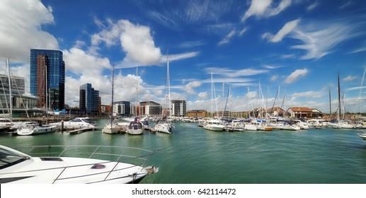 Ocean Village marina in Southampton on a warm sunny day