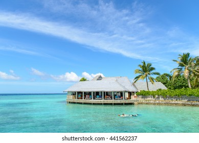 Ocean villas in Maldives , beautiful sea and sky, summer sun beach background