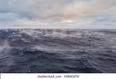 Ocean warm water evaporates rapidly when cold dry air blows upon it - rare phenomenon
