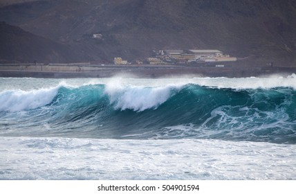 ocean wave breaking by Confital beach, north East of Gran Canaria, October 2016