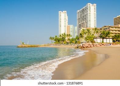 Ocean wave on the beach in Puerto Vallarta, Mexico.
