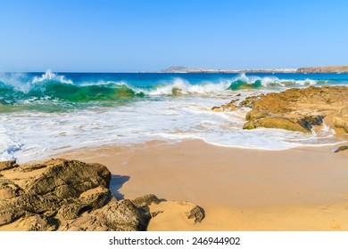 Ocean wave on Papagayo sandy beach, Lanzarote, Canary Islands, Spain