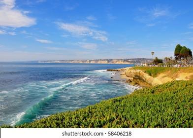 Ocean waves along the coast, La Jolla, California.