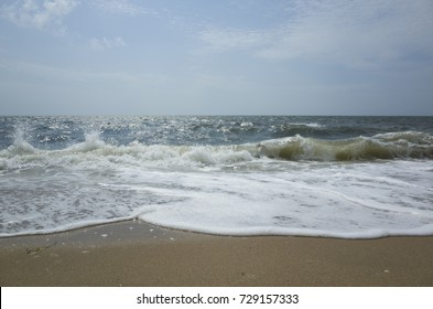 Ocean Waves on the Beach, Sea Street Beach, Dennis Port, Cape Cod, Massachusetts, USA