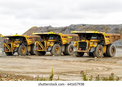 OCEANA GOLD, NEW ZEALAND - FEBRUARY 26, 2017: A 130 ton tiptruck waits for itsload at Oceana gold mine, South Island, New Zealand