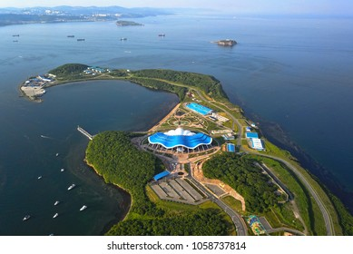 Oceanarium in the form of a shell in Vladivostok, on Russky Island, Russia