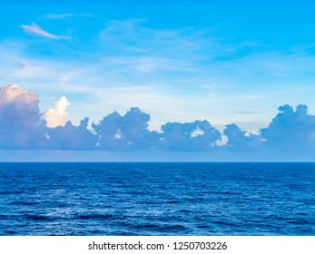 The oceanfront and the blue sky from the cruise ship