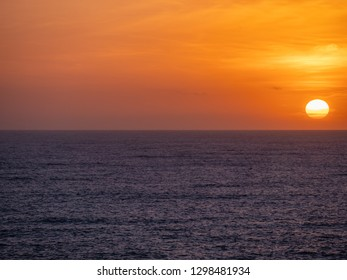 The oceanfront and the sunset from the cruise ship at Mediterranean