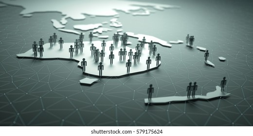 Oceania. 3D illustration of people on the map, representing the country's demography.